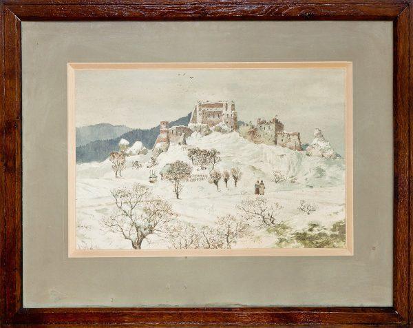 Akwarela Zamek w Odrzykoniu