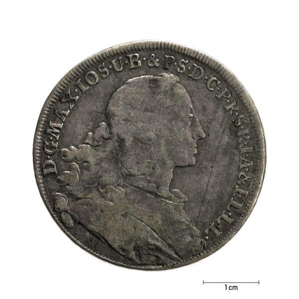 0926 Zbiory numizmatyczne St. Kadyiego; Maksymilian Józef książę bawarski (1756); talar bawarski - awers