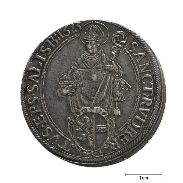 0928 Zbiory numizmatyczne St. Kadyiego; Talar arcybiskupi Salzburg (1623); awers