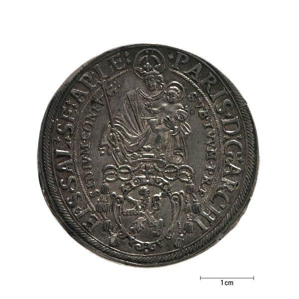 0928 Zbiory numizmatyczne St. Kadyiego; Talar arcybiskupi Salzburg (1623); rewers
