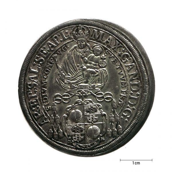 0930 Zbiory numizmatyczne St. Kadyiego; Talar arcybiskupi Salzburg (1674); rewers
