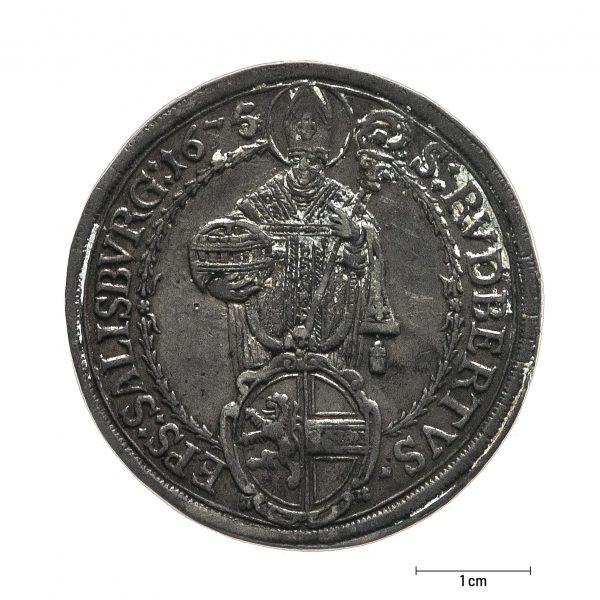 0931 Zbiory numizmatyczne St. Kadyiego; Talar arcybiskupi Salzburg (1675); awers