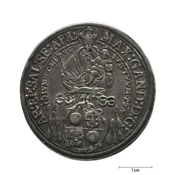 0931 Zbiory numizmatyczne St. Kadyiego; Talar arcybiskupi Salzburg (1675); rewers