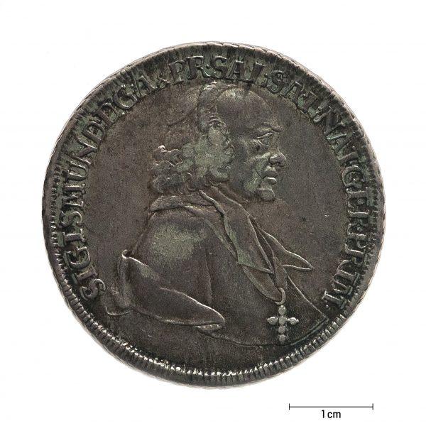 0932 Zbiory numizmatyczne St. Kadyiego; Talar arcybiskupi Salzburg (1761); rewers
