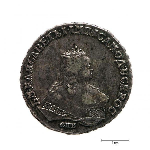 0939 Zbiory numizmatyczne St. Kadyiego; Elżbieta I, Rosja (1749); rubel - awers