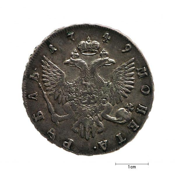 0939 Zbiory numizmatyczne St. Kadyiego; Elżbieta I, Rosja (1749); rubel - rewers