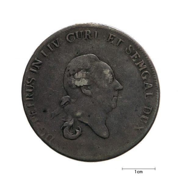 1001 Zbiory numizmatyczne St. Kadyiego; Jan Ernest Biron, Księstwo Kurlandzkie (1780); talar kurlandzki- awers