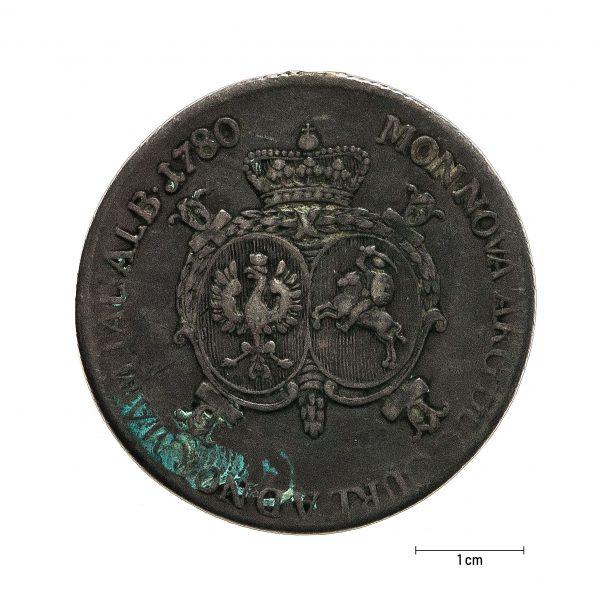 1001 Zbiory numizmatyczne St. Kadyiego; Jan Ernest Biron, Księstwo Kurlandzkie (1780); talar kurlandzki- rewers
