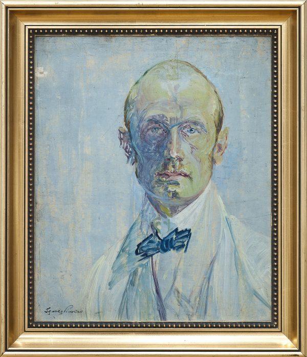 2241 A-H autor Ignacy Pinkas, Autoportret niebieski, 1927, olej dykta, 50x42, fot. MSz