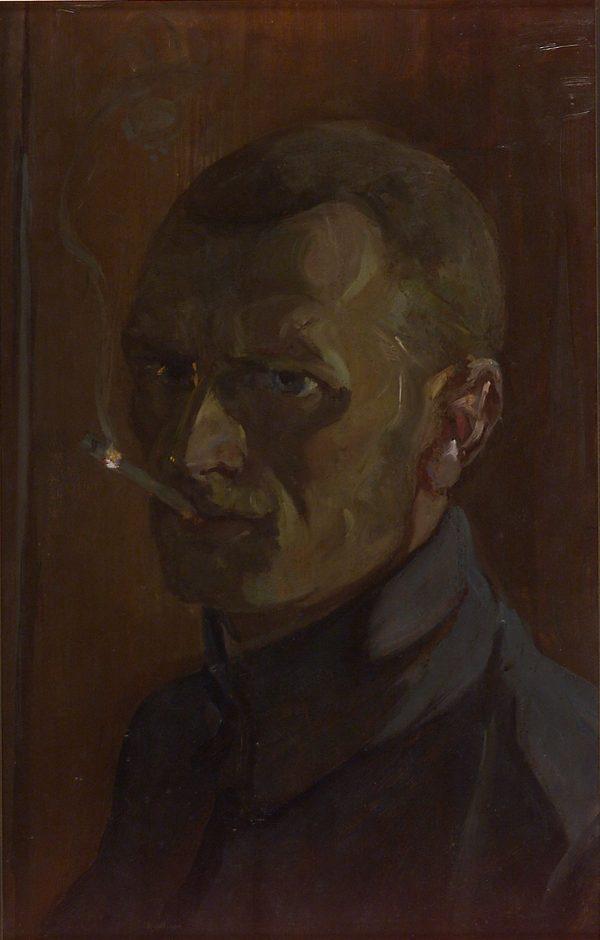 2242 AH autor Ignacy Pinkas, Autoportret w mindurze legionisty, 1914-18, olej dykta, 44x28