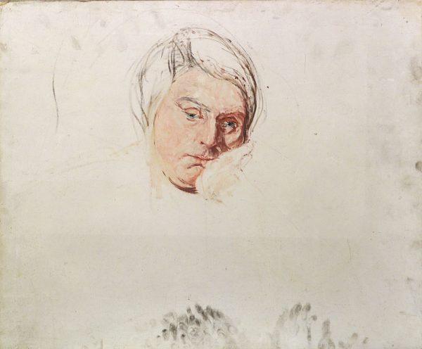 2323 AH autor Ignacy Pinkas, Studium głowy kobiecej, olej dykta, 50 x 60, fot