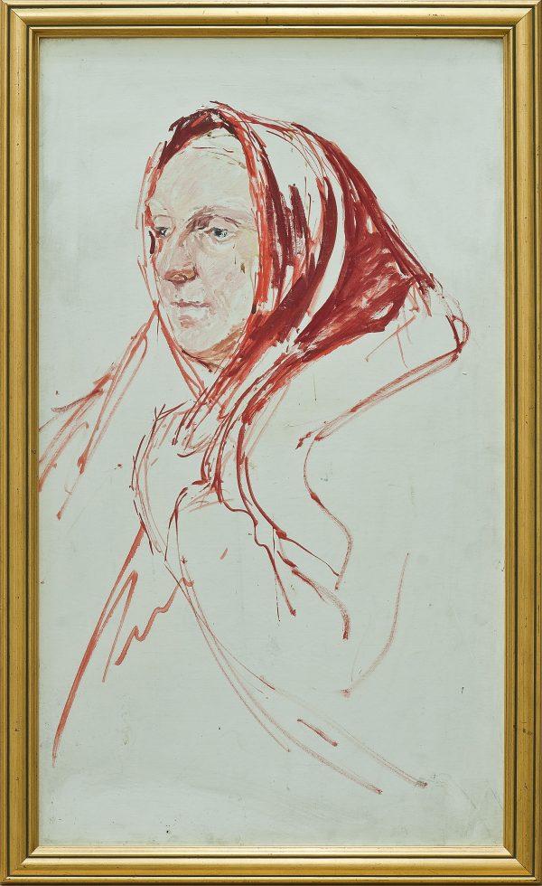 2329 AH autor Ignacy Pinkas, Jatarnia Szkic kobiety, 1933, olej dykta, 43x34, fot. MSz