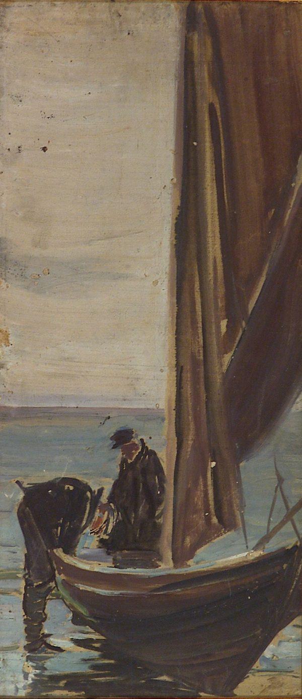 2333 AH autor Ignacy Pinkas, Rybacy przy łódce z żaglami, 1921, 67x31, fot