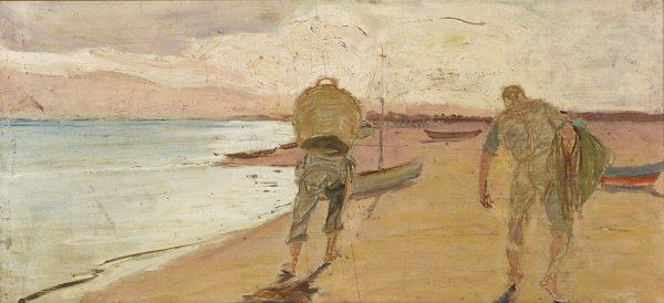 2334 AH autor Ignacy Pinkas, Rybacy niosący sieci, 1921, olej dykta, 31x67, fot