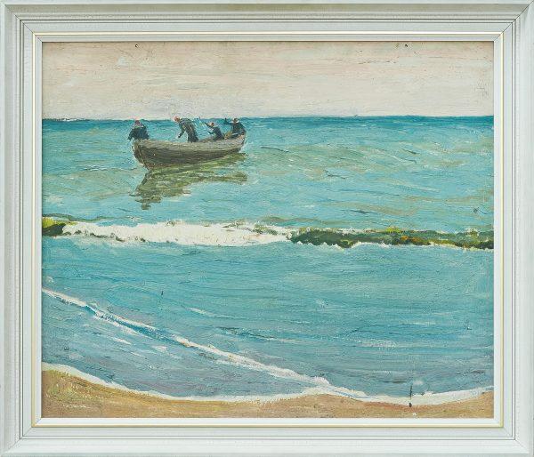 2341 AH autor Ignacy Pinkas, Rybacy na pełnym morzu, 1933, olej dykta, 60x50, fot. MSz