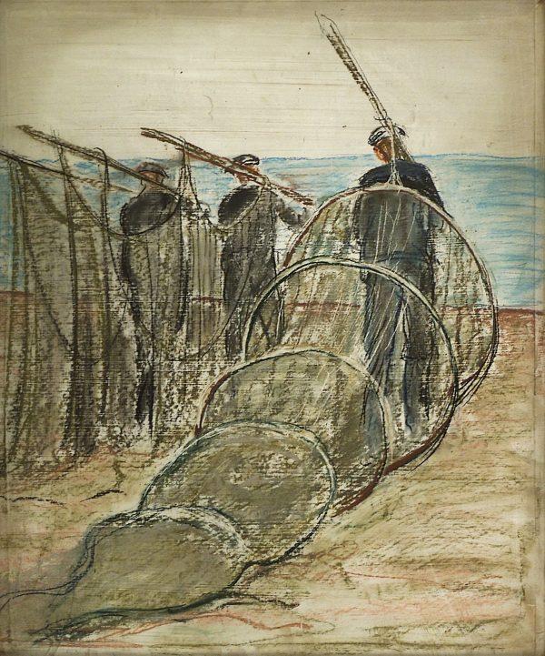 2343 AH autor Ignacy Pinkas, Rybacy niosący sieci, 1933, pastel dykta, 63x51, fot