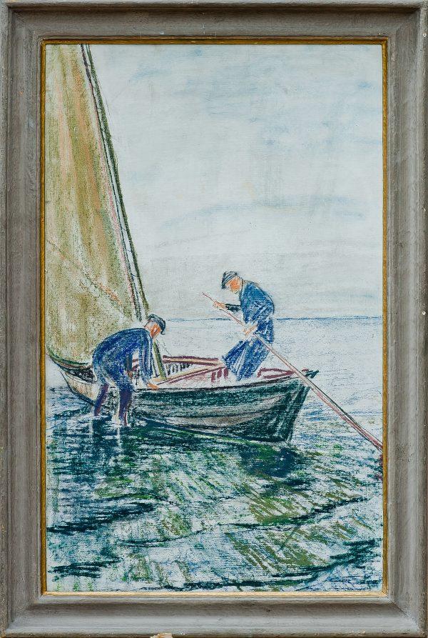 2344 AH autor Ignacy Pinkas, Rybacy przy łódce z żaglami, 1933, pastele dykta, 70x40, fot. MSz
