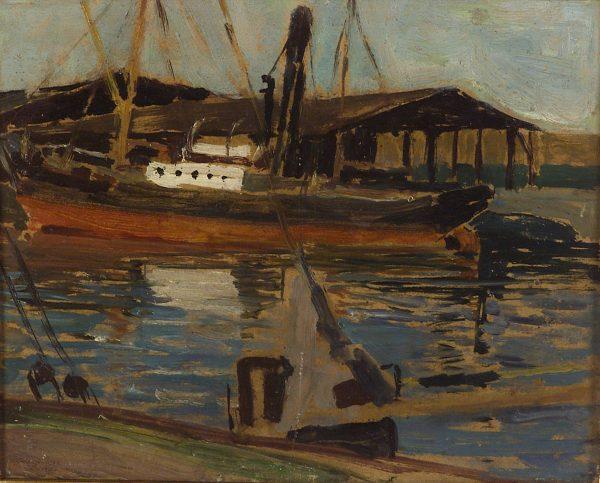 2345 AH autor Ignacy Pinkas, Przystań, 1921, olej dykta, 26x30, fot