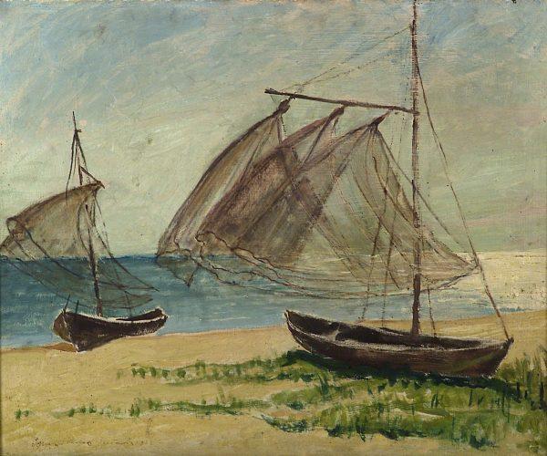2346 AH autor Ignacy Pinkas, Łodzie na brzegu morza, 1933, olej dykta, 49x60, fot