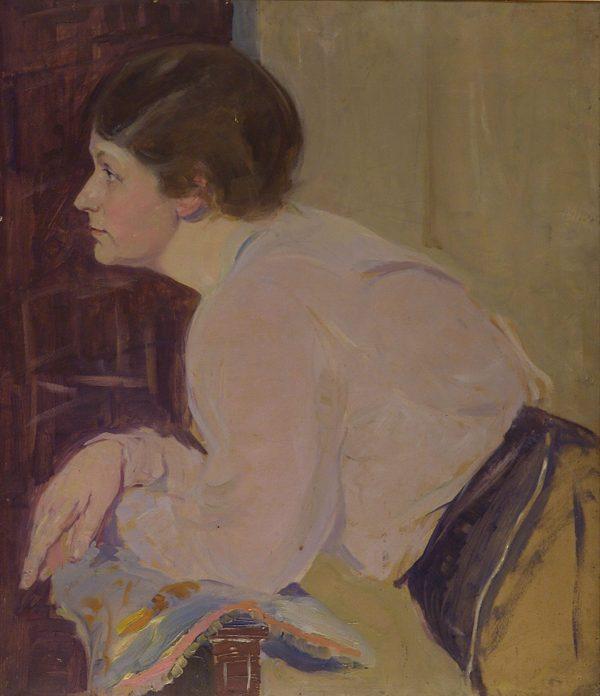 2357 AH autor Ignacy Pinkas, Portret kobiecy, olej dykta, 80x69, fot