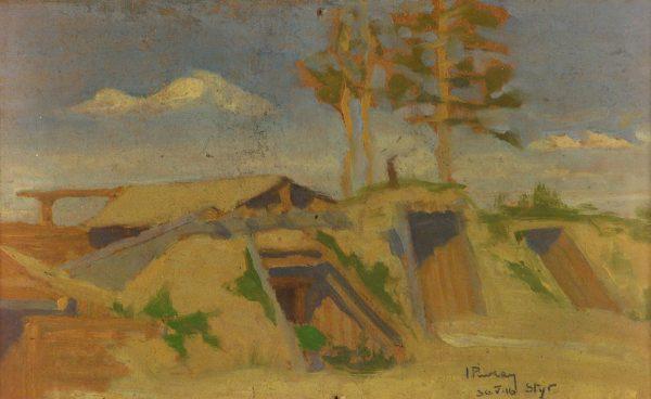 2384 AH autor Ignacy Pinkas, Ziemianki nad Styrem, 1916, olej płótno, 25x16, fot