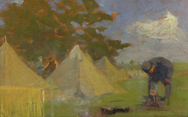 2385 AH autor Ignacy Pinkas, Linie Stachodu, 1916, olej dykta, 31x20, fot