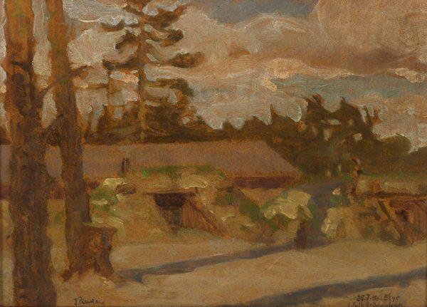 2386 AH autor Ignacy Pinkas, Okopy artylerii nad Styrem, 1916, olej dykta, 34x25, fot