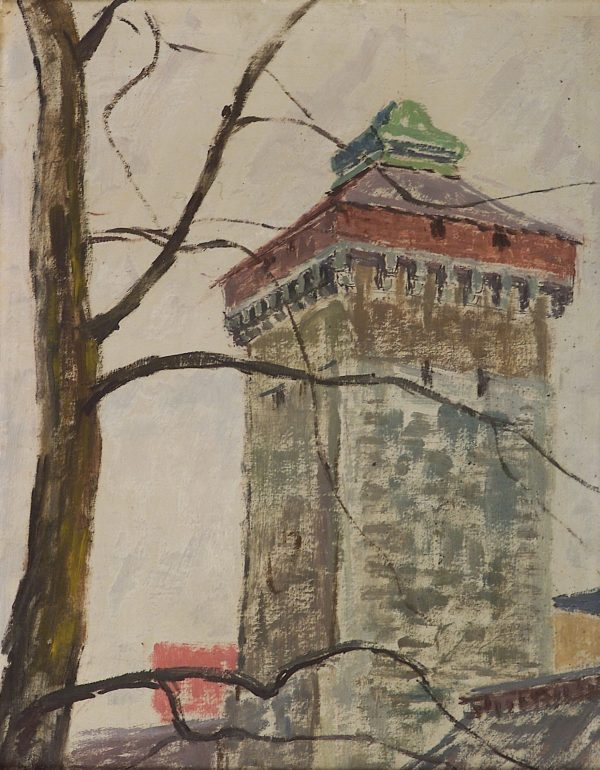 2395 AH autor Ignacy Pinkas, Baszta Bramy Floriańskiej, 1934, olej dykta, 50x40, fot