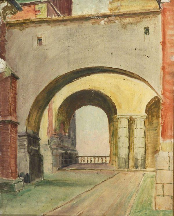 2397 AH autor Ignacy Pinkas Podworczyk Batorego, 1934, olej dykta, 50x40, fot