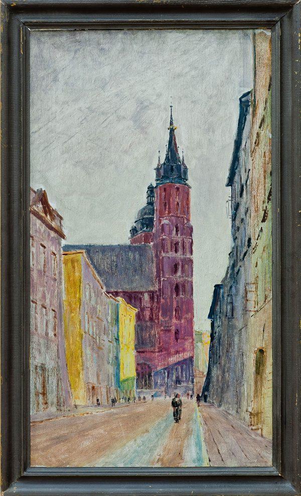 2401 AH autor Ignacy Pinkas, Ulica Floriańska w deszczu, lata 30-te, olej dykta, 69x38, fot. MSz