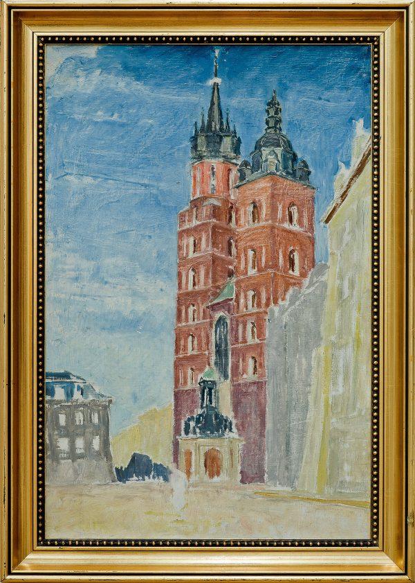 2403 AH autor Ignacy Pinkas, Kościół Mariaki Kraków, lata 30-te, olej dykta, 69x45, fot. MSz