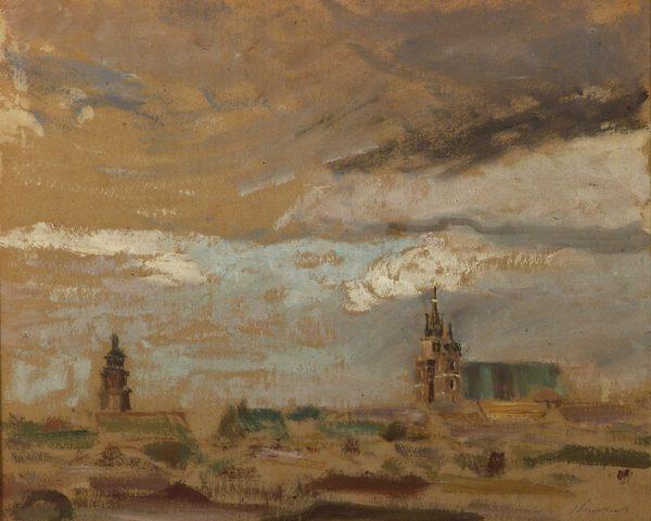 2404 AH autor Ignacy Pinkas, Widok na Kościół Mariacki ponad dachami miasta, olej dykta, 42x40, fot