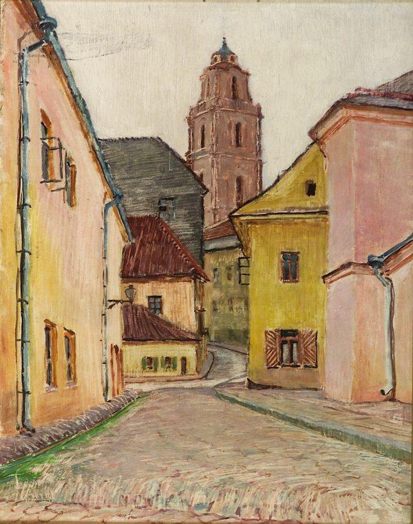 2406 AH autor Ignacy Pinkas, Uliczka w Wilnie, 1928, olej dykta, 43x34, fot