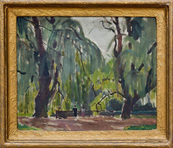 2410 AH autor Ignacy Pinkas, W parku Praga czeska, 1924, olej dykta, 22x27, fot. MSz