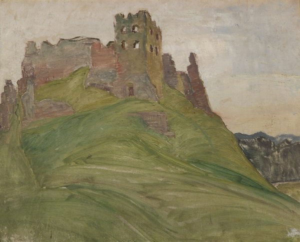 2413 AH autor Ignacy Pinkas, Ruiny zamku w Czorsztynie, 1932, olej dykta, 49x40, fot