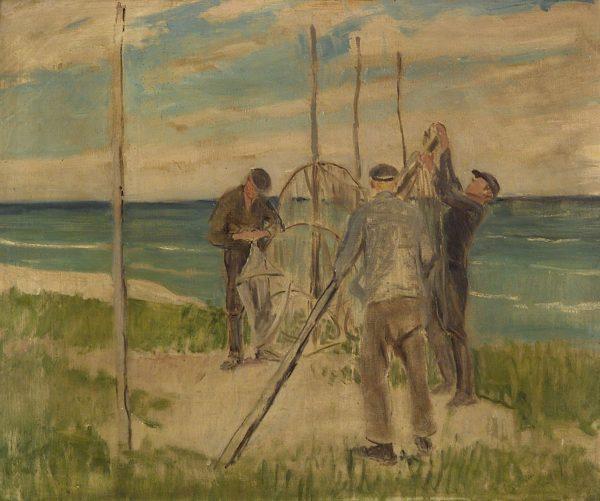 2415 AH autor Ignacy Pinkas, Rybacy przy sieciach w Jastarnii, 1934, olej dykta, 60x50, fot