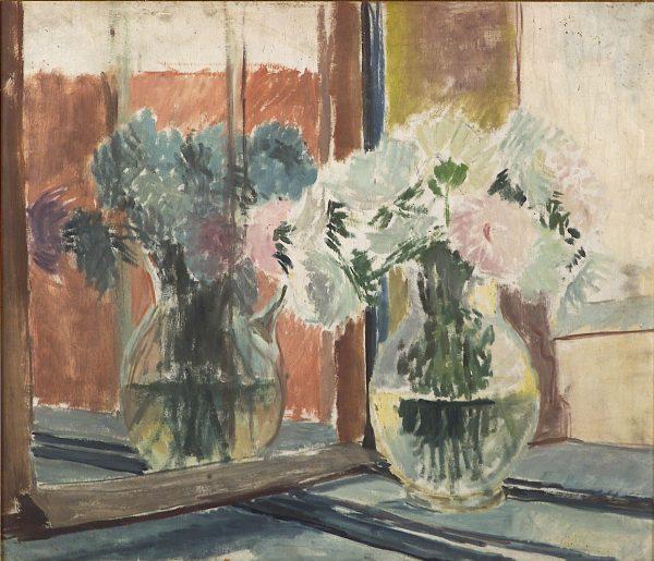 2416 AH autor Ignacy Pinkas, Kwiaty w oknie, olej sklejka, 70x60, fot