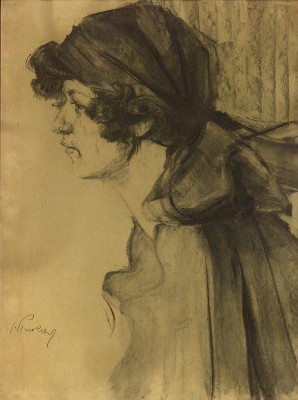 2435 AH autor Ignacy Pinkas Pani Zosia, 1919, węgiel, 66x50, fot