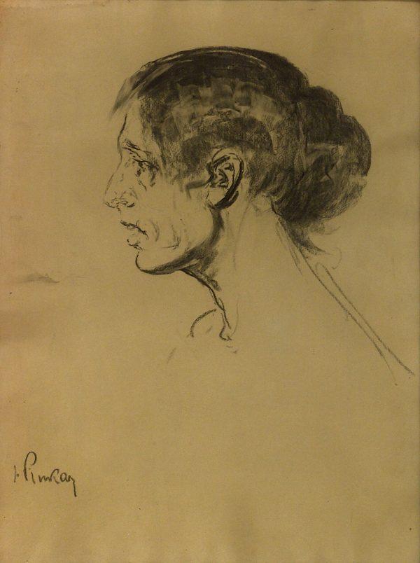 2436 AH autor Ignacy Pinkas, Studium głowy kobiecej, 1919, węgiel, 66x50, fot