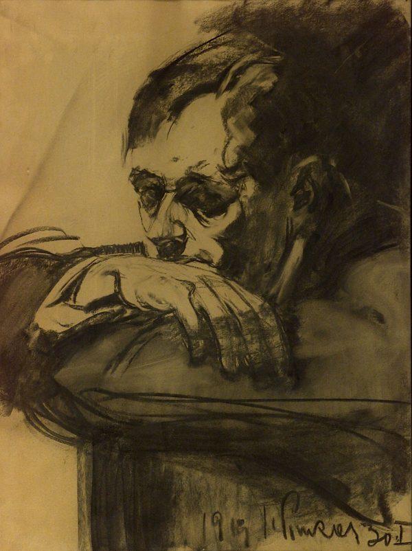 2437 AH autor Ignacy Pinkas, Portret mężczyzny, 1919, węgiel, 66x50, fot