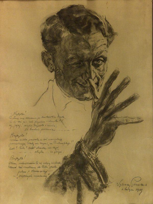 2438 AH autor Ignacy Pinkas, Autoportret, węgiel,66x50, fot