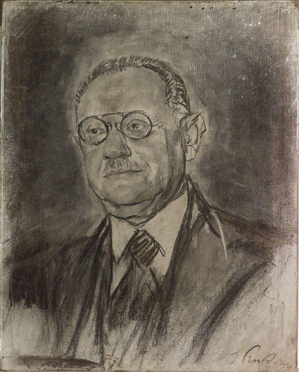 2499 AH autor Ignacy Pinkas, Szkic do portretu Tadeusza Epsteina, ok. 1920, węgiel, 50x40, fot