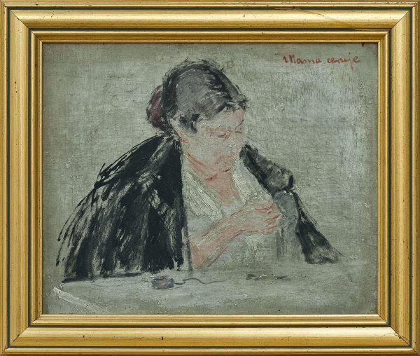 2505 AH autor Ignacy Pinkas, Portret żony artysty Mama ceruje, olej dykta, 22x27, fot. MSz