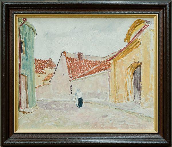 2753 AH autor Ignacy Pinkas, Zaułek miejski, 1920-30, olej dykta, 34x40,5, fot. MSz