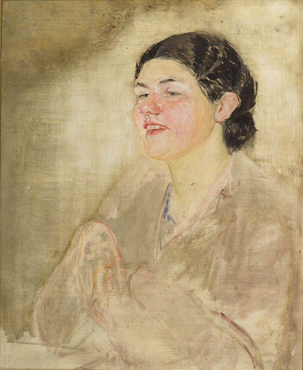 2758 AH autor Ignacy Pinkas, Szkic do portretu pasierbicy, 1932, olej dykta, 60x49, fot