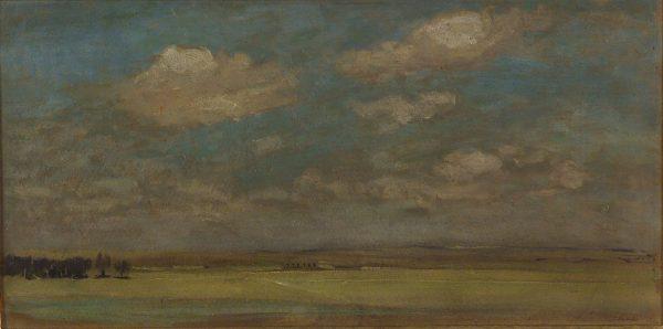 2760 AH autor Ignacy Pinkas, Pejzaż, ok. 1918, olej dykta, 26x50,7, fot