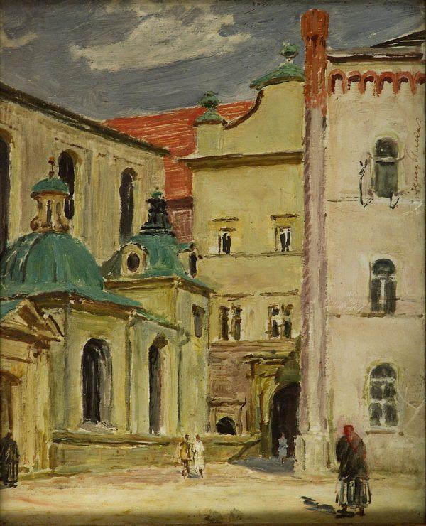 2761 AH autor Ignacy Pinkas, Wejście na dziedzinien wawelski, olej dykta, 27x22, fot