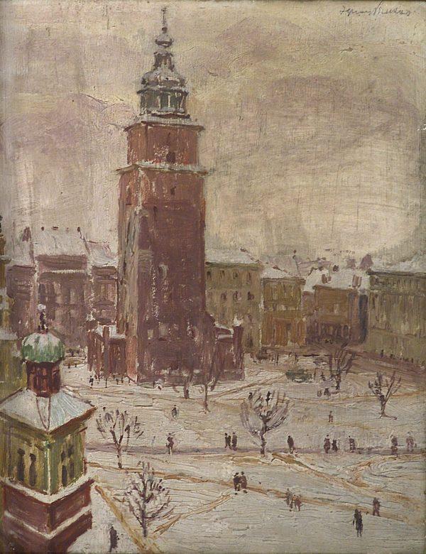 2763 AH autor Ignacy Pinkas, Rynek krakowski z Wieżą Ratuszową, olej dykta, 43x38 z ramą, fot