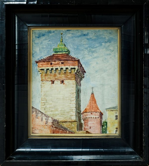 2764 AH autor Ignacy Pinkas, Brama Floriańska, olej dykta, 28,5x25, fot. MSz
