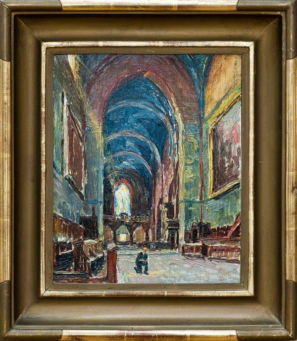2766 AH autor Ignacy Pinkas, Wnętrze kościołą Franciszkanów w Krakowie, 1932, olej dykta, 27x22, fot. MSz